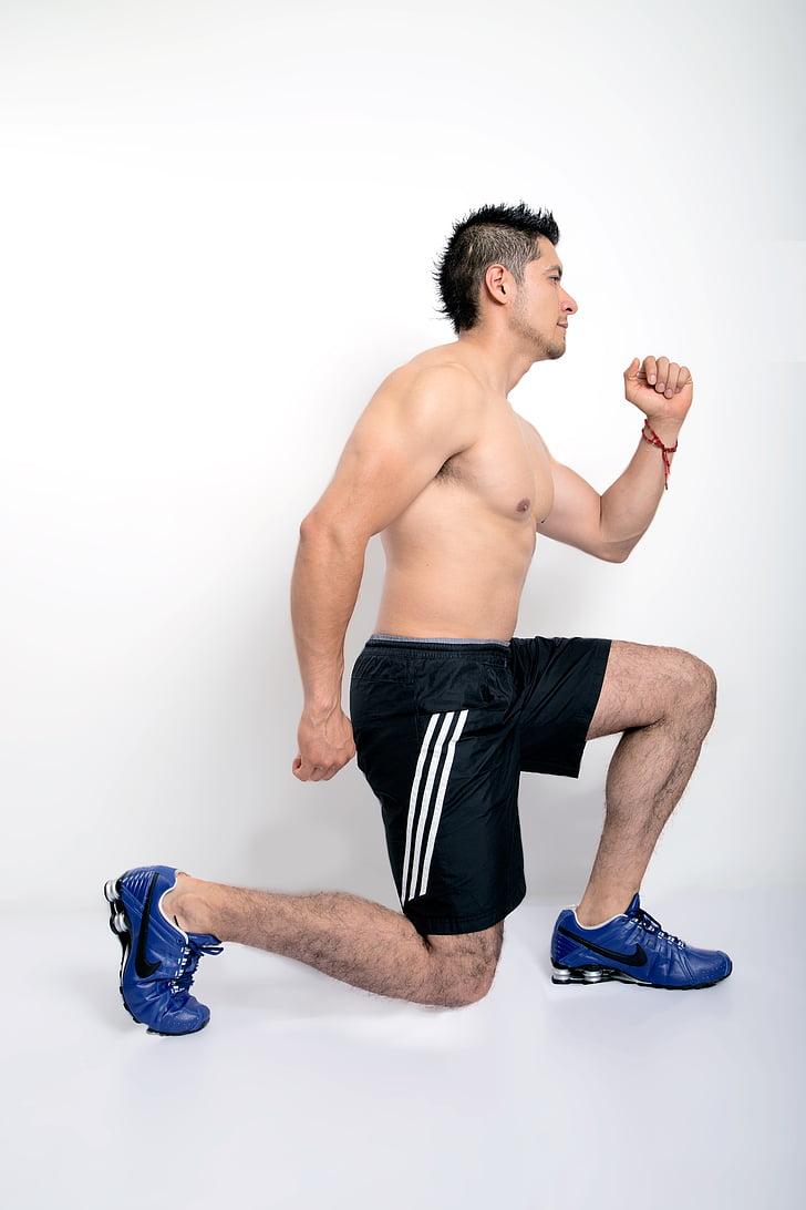 exercici, gimnàs, estocades, roba esportiva, només homes, només un home, Uvas