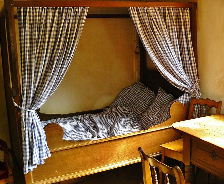 tempat tidur, tempat tidur empat poster, Kamar, antik, tidur, Nostalgia, tempat tidur