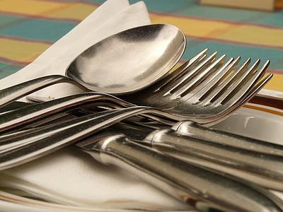 coberts, ganivet, forquilla, Cullera, menjar, sopar, coberteria