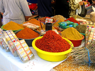 gia vị, Tunisia, thị trường, Châu á, bán, nền văn hóa, thực phẩm
