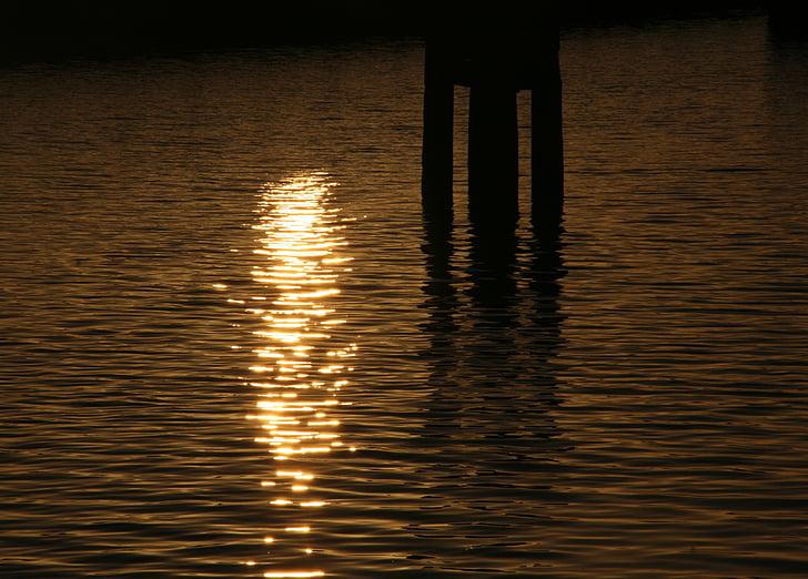 sunset, water, sun, reflection, setting sun, netherlands