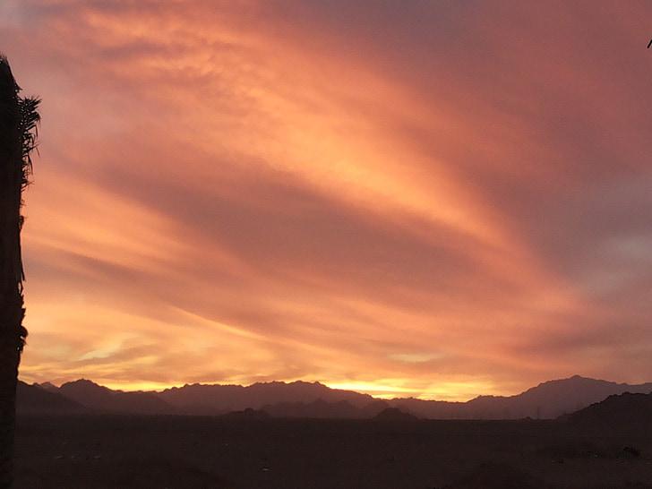 posta de sol, Egipte, Sinaí, viatges, Turisme, desert de, canó