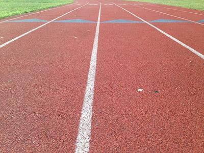 pista, recta, línies, corrent, esport, Estadi, competència