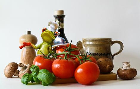 Gotowanie, żaba, Rysunek, kucharz, składniki, kuchnia, ładny