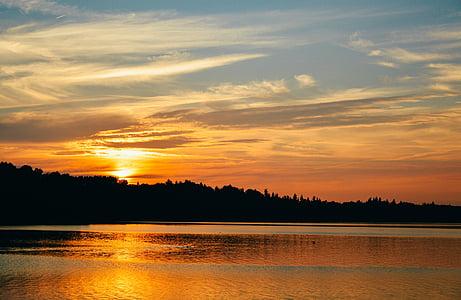 sunset, sky, lake, nature, sun, landscape, sunrise