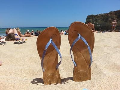 Portugal, platja, xancletes, Costa, sorra, l'estiu, Mar