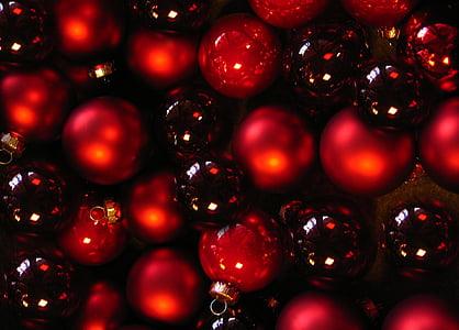 boles, christbaumkugeln, glaskugeln, vermell, negre, ornaments de Nadal, Nadal llaminadura