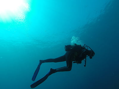 ronilac, more, mjehurići, plava, Marin, boce, ronjenje