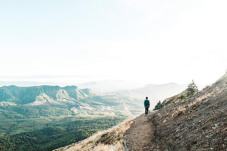 aventura, caminhada, colina, paisagem, montanha, ao ar livre, caminho