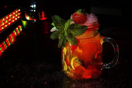 còctel, Margarida maduixa, maduixa, beguda, vermell, fruita, frescor