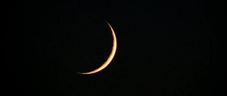 Moon, Poolkuu, taevas, öö, Sirp, valgus, Moonlight