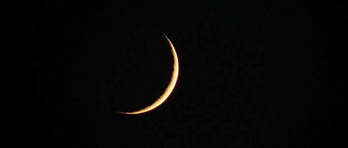 月, 上弦の月, 空, 夜, 鎌, 光, 月光