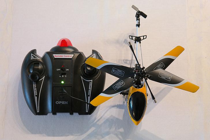 ελικόπτερο, τηλεχειριστήριο, μοντέλο, μοντέλο ελικοπτέρου, ρότορες, έλικα, παιχνίδια