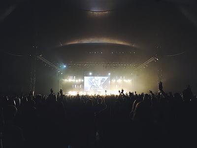 konsert, folkmassan, mörka, Festival, lampor, musik, musikfestival