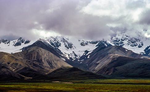 ennuvolat, herba, paisatge, muntanyes, natura, neu, muntanya