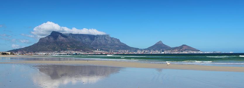 cape town, table mountain, mirroring, beach, sea, ocean