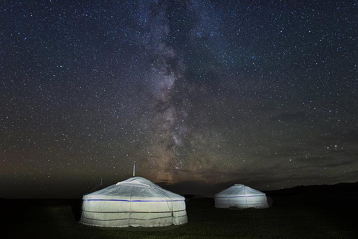 Via Láctea, céu estrelado, Pao, aldeia de Bogart, Mongólia, silêncio, à noite