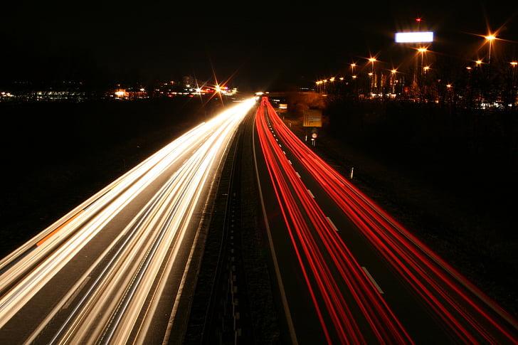 긴 노출, 자동차, 조명, 도, 밤, 빛, 교통