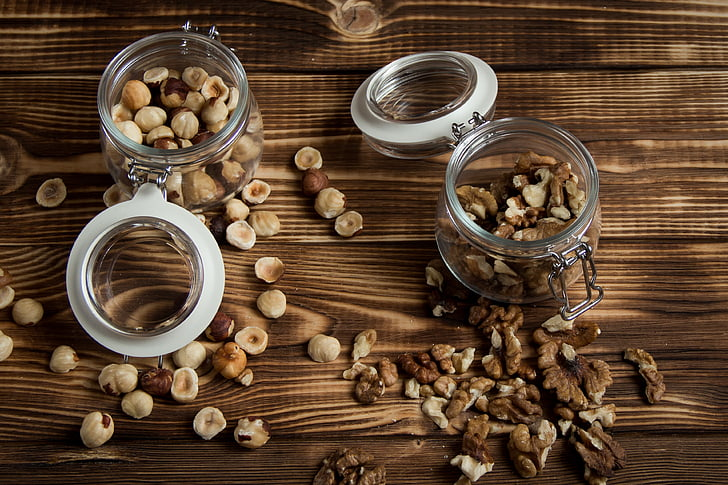 nuts, filbert, walnut, wooden background, healthcare and medicine, preparation, alternative medicine
