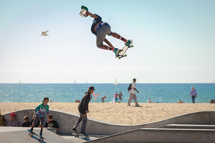 скейтборд, скейтбординг, скейтбордистів, молоді, активні, пляж, Екстрім