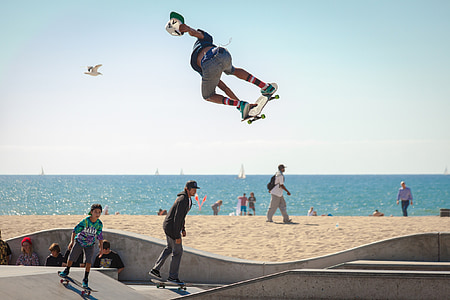 skateboard, skateboarding, skateboarders, youth, active, beach, extreme