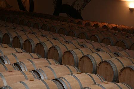 förvaring, fat, röd, vin, Bordeaux, Frankrike, Vine