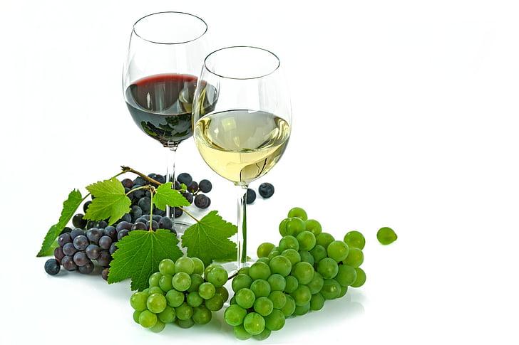 kaks, veini, prillid, täidetud, kõrval, viinamari, puuviljad