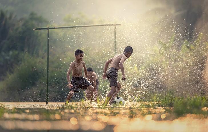 fotball, barn, sport, handlingen, flytende, aktiviteten, afrikanere