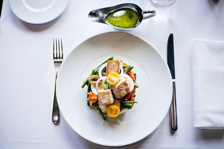 maaltijd, voedsel, kip, salade, gezonde, voeding, lunch