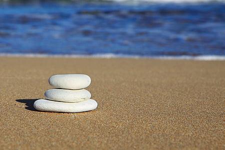 równowaga, Plaża, niebieski, linia brzegowa, sterty, Ocean, pokoju