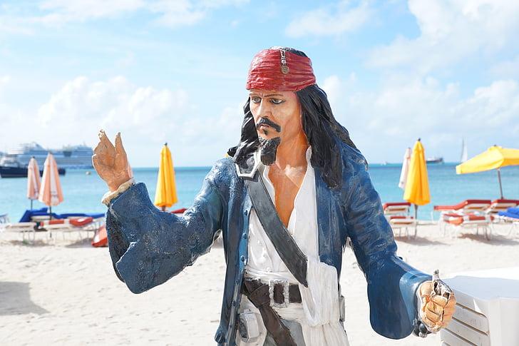 pirat, staty, Jack sparrow, kapten, karaktär, pirater i Västindien, filmen