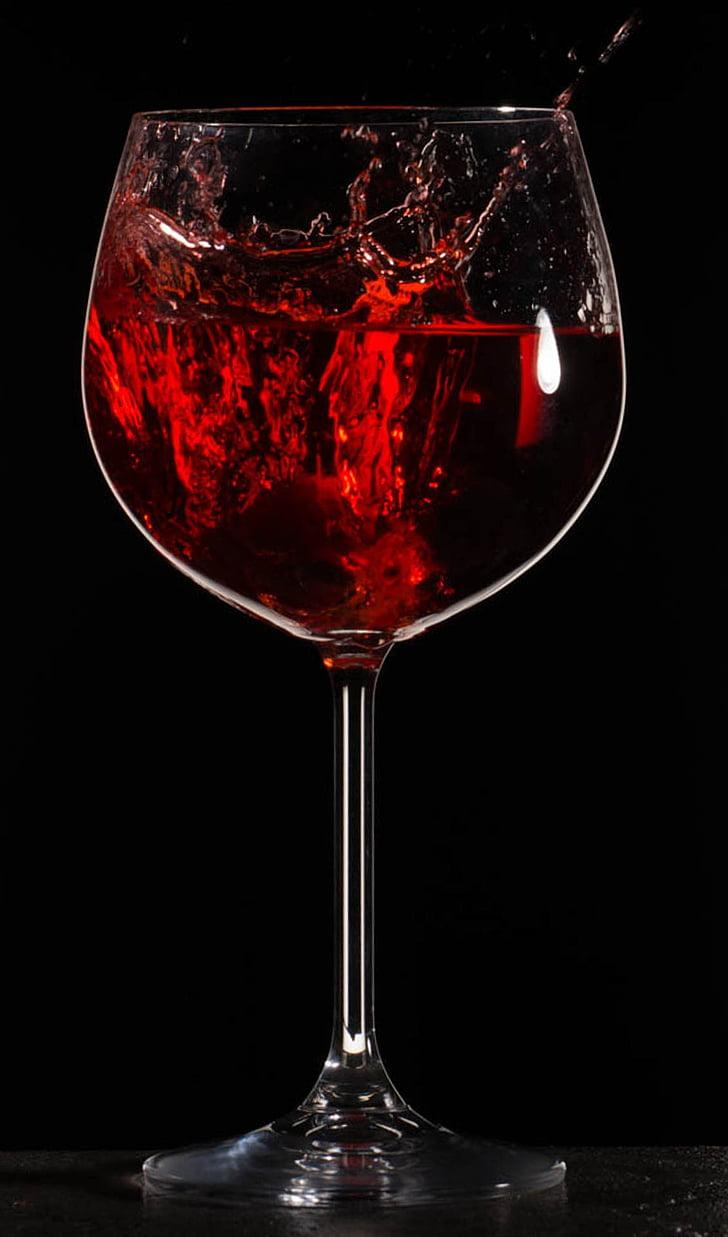 esquitxades, vi, beguda, líquid, vidre, vermell, Wineglass