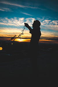 Dawn, skymning, lampor, mannen, Utomhus, siluett, Sky