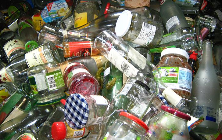 vidre, ulleres, ampolles, recipient de vidre, contenidor, embalatge, residus