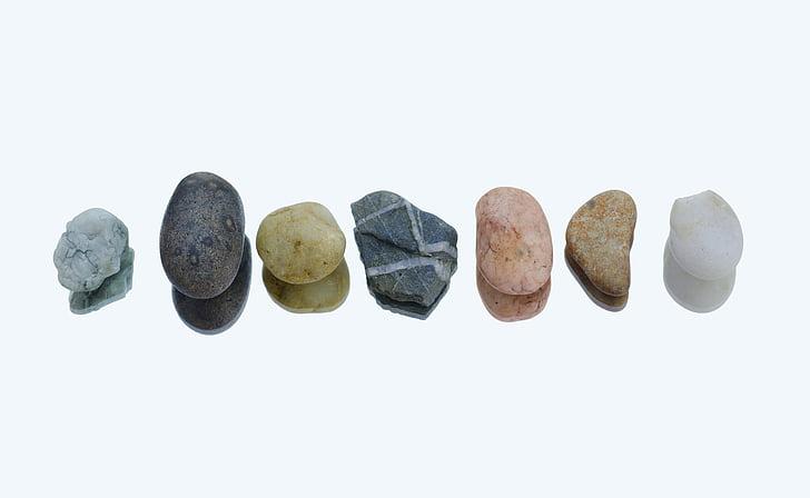камъчета, ред, цветове, отражение, бяло, природата, рок
