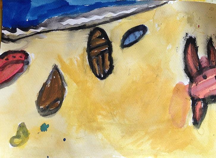 akvarelis, pludmale, čaulas, zīmējums, bērniem, programmas Molberts, daudzkombināciju krāsainu