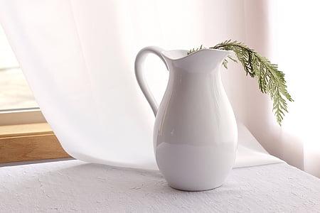 Yeşil, yaprak, Beyaz, Seramik, sürahi, yakın:, pencere