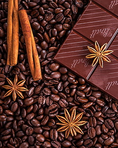 cafè, xocolata, canyella, anís, anís estrellat, gra, close-up