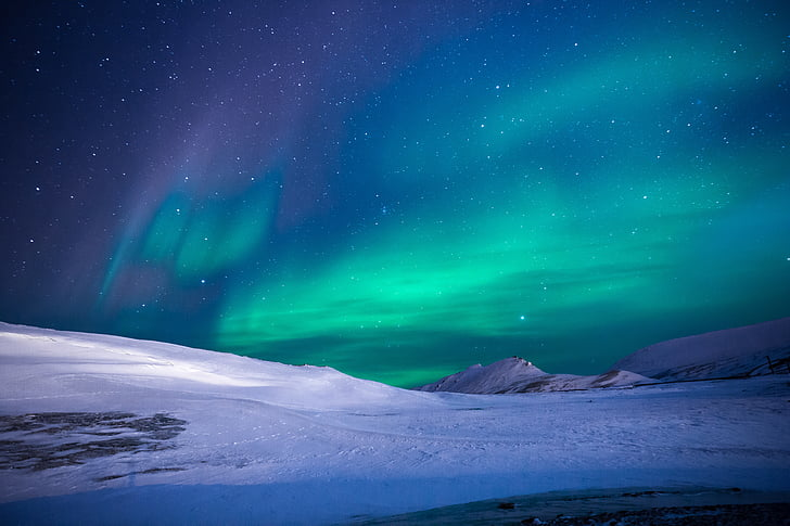 aurora, northen lights, ice, mountain, trip, adventure, stars