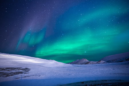 Aurora, Northern lights, Ice, Mountain, tur, eventyr, stjerner