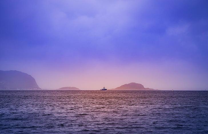 amanhecer, Ilha, oceano, mar, Seascape, nave, silhueta