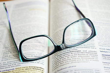 book, book pages, composition, data, document, education, eyeglasses