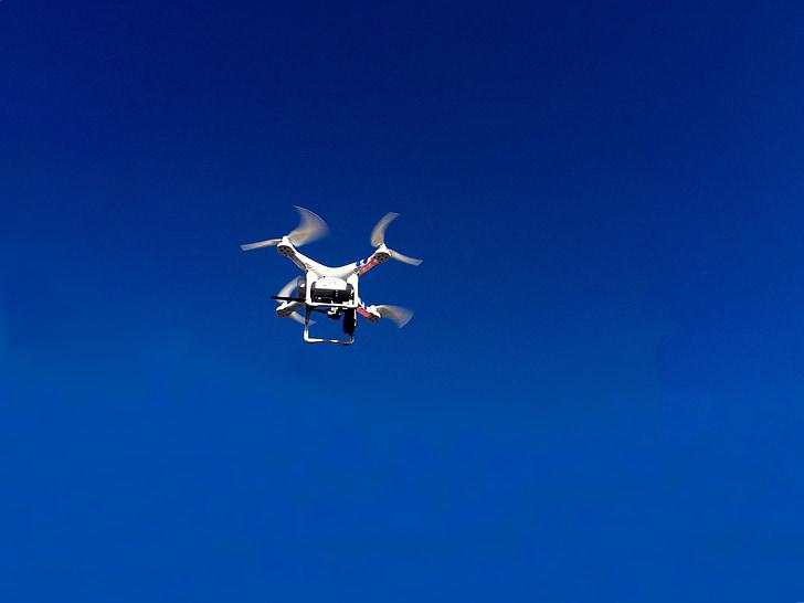 drone, drone flight, blue sky, air, heaven, fly, clear blue sky