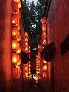 lanterner, lite smug, rød lanterne, i skumringen, Valentine, unge elskere, opplyst