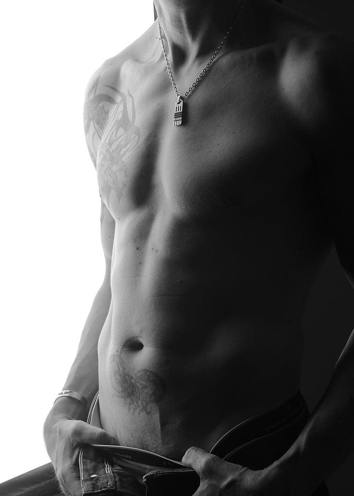 home, cos, tatuatges, músculs, atractiu, mama, ABS