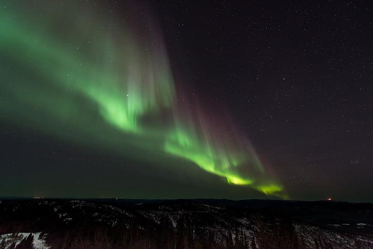 Aurora, borialis, grøn, natur, Sky, plads, vinter