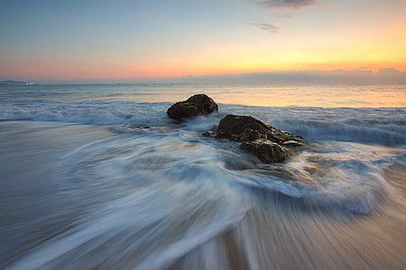 spiaggia, Alba, crepuscolo, natura, oceano, rocce, sabbia