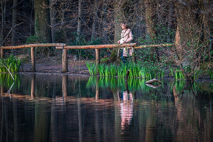 meisje, Lake, weergave, Meditatie, blik, rest, ontspanning