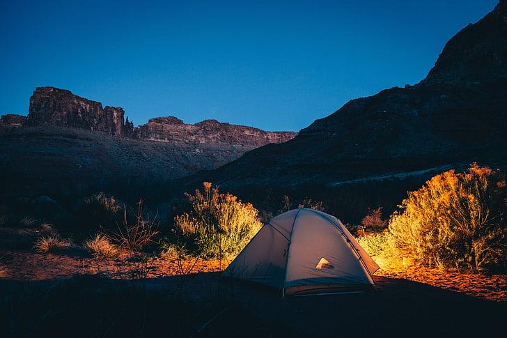 tenda, Càmping, remot, Càmping, a l'exterior, sol, campament