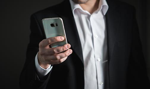 бізнесмен, смартфон, телефон, мобільний телефон, Зайнятий, маркетинг, Корпоративним